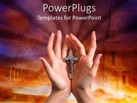 PowerPlugs: PowerPoint template with pair of adult hands holding a cross on an orange background