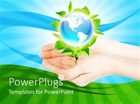 PowerPlugs: PowerPoint template with pair of adult hands holing a plant with an earth globe