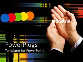 PowerPoint template displaying pair of adult hands placed together with colorful dots