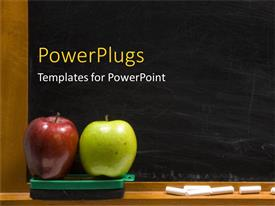 PowerPlugs: PowerPoint template with a pair of apples with blacboard in the background