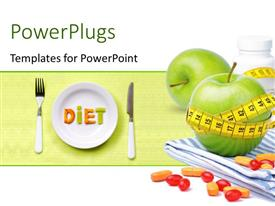 PowerPlugs: PowerPoint template with a pair of apples with measuring tape and plate