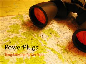PowerPlugs: PowerPoint template with a pair of binoculars with a map underneath them