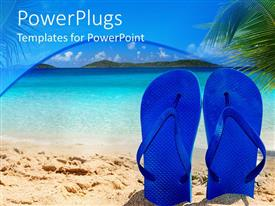 PowerPlugs: PowerPoint template with a pair of bluish flip flops and sea in the background