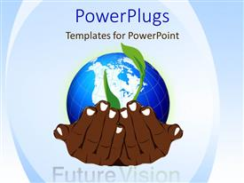 PowerPlugs: PowerPoint template with a pair of brown colored hands holding a globe