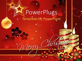 PowerPoint template displaying a pair of candles and balls for the celebration of Christmas