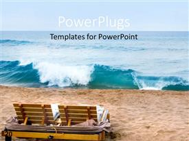 PowerPlugs: PowerPoint template with a pair of chairs present on a beach with tides coming by