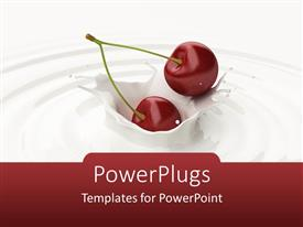 PowerPlugs: PowerPoint template with a pair of cherries in the milk