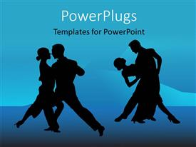 PowerPoint template displaying a pair of dancers silhouette on a blue background