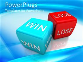PowerPlugs: PowerPoint template with a pair of dices with bluish background