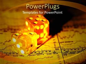 PowerPoint template displaying a pair of dices together on a financial report