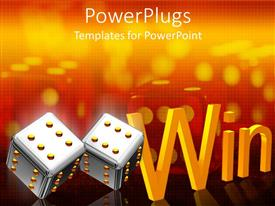 PowerPlugs: PowerPoint template with a pair of dies and a text that spells out the word 'win '