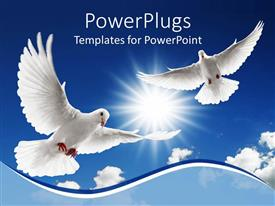 PowerPoint template displaying a pair of doves flying in the air with clouds in the background