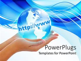 PowerPlugs: PowerPoint template with pair of female hands holding a blue earth globe