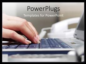 PowerPlugs: PowerPoint template with a pair of female hands typing on a laptop keyboard
