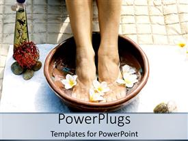 PowerPoint template displaying pair of female legs dipped in a foot bowl with flowers