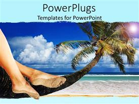 PowerPoint template displaying pair of female legs sitting on a palm tree