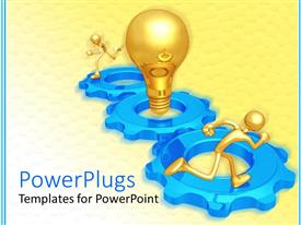 PowerPoint template displaying a pair of figures running on gears with a bulb in between them