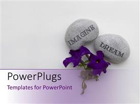 PowerPlugs: PowerPoint template with a pair of flowers with purple background and place for text