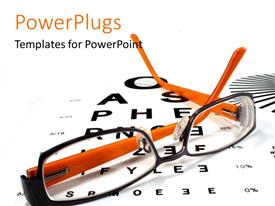 PowerPoint template displaying a pair of glasses with alphabets in the background