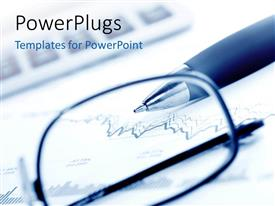 PowerPlugs: PowerPoint template with a pair of glasses and a ball point in the background