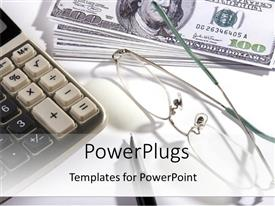 PowerPlugs: PowerPoint template with a pair of glasses, a calculator, and some dollar bills