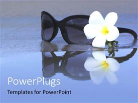 PowerPoint template displaying a pair of glasses on a wet ground and a white flower
