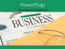 PowerPlugs: PowerPoint template with a pair of glasses on a yellow envelope and a news paper under it