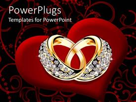 PowerPlugs: PowerPoint template with a pair of gold and dimond ring on heart showing love