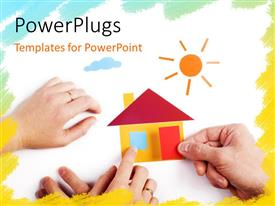 PowerPlugs: PowerPoint template with pair of hand with color paper application of house with color frame