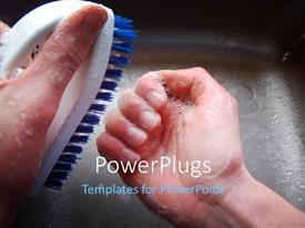 PowerPlugs: PowerPoint template with a pair of hands brushing his nails on a sink