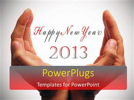 PowerPlugs: PowerPoint template with a pair of hands with the celebration of new year