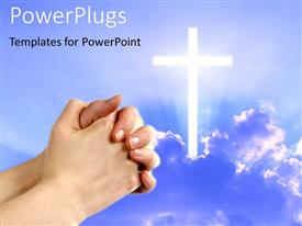 PowerPlugs: PowerPoint template with pair hands folded in prayer next to shining white cross