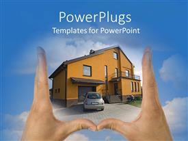 PowerPlugs: PowerPoint template with pair of hands framing house with blue sky clouds background