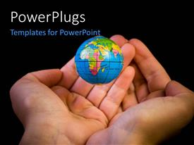 PowerPlugs: PowerPoint template with a pair of hands with a globe and blackish background