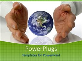 PowerPlugs: PowerPoint template with pair of hands with a globe in the center