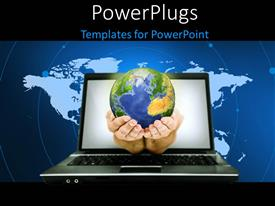 PowerPlugs: PowerPoint template with a pair of hands with a globe and a laptop