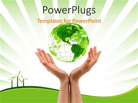 PowerPoint template displaying a pair of hands with a green globe and greenish background