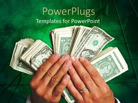 PowerPlugs: PowerPoint template with a pair of hands holding bundles of currency notes