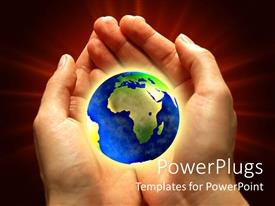 PowerPlugs: PowerPoint template with a pair of hands holding the globe