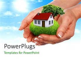 PowerPlugs: PowerPoint template with a pair of hands holding the house with sky in the background