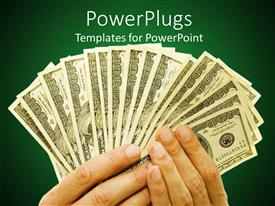 PowerPlugs: PowerPoint template with pair of hands holding lots of hundred dollar bills