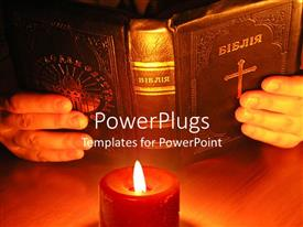 PowerPlugs: PowerPoint template with pair hands holding old Bible in front of burning red candle