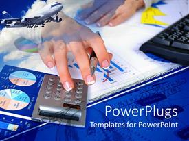 PowerPlugs: PowerPoint template with pair of hands holding a pen and pressing a calculator