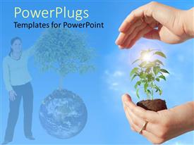 PowerPlugs: PowerPoint template with pair hands holding protecting new plant next to woman with tree and globe