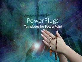 PowerPlugs: PowerPoint template with pair of hands holding a rosary with a cross on the background