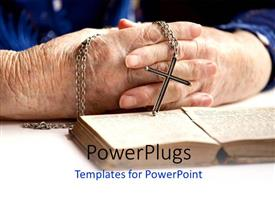 PowerPlugs: PowerPoint template with a pair of hands holding a rosary with an open book