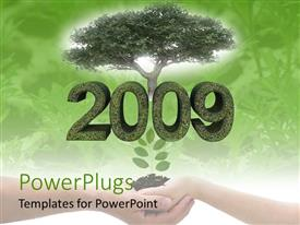 PowerPlugs: PowerPoint template with pair hands holding soil with seedling below 2009 and large shade tree