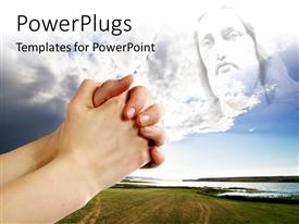 PowerPlugs: PowerPoint template with pair of hands in a praying position set against jesus with beautiful landscape