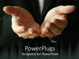 PowerPoint template displaying a pair of hands together asking for help