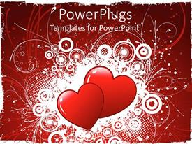 PowerPlugs: PowerPoint template with a pair of hearts with floral background